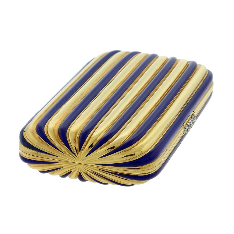 Vintage Diamond Gold Blue Enamel Stripes Multi-Use Case Compact In Excellent Condition For Sale In Beverly Hills, CA