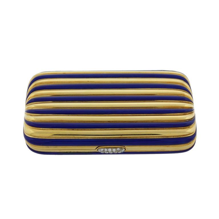 Women's Vintage Diamond Gold Blue Enamel Stripes Multi-Use Case Compact For Sale