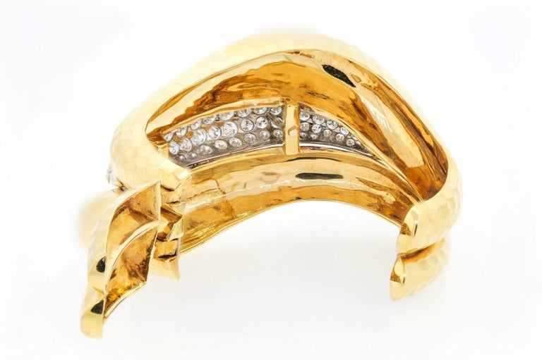 Modern Vintage Diamond and Gold Cuff Bangle For Sale