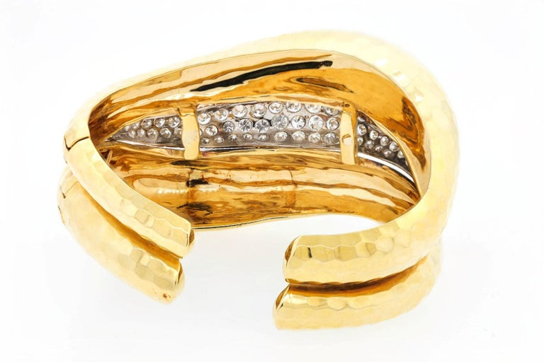 Round Cut Vintage Diamond and Gold Cuff Bangle For Sale