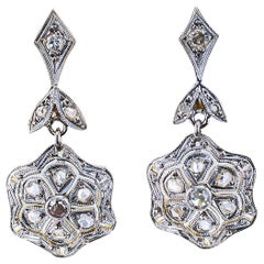 Vintage Diamond Gold Platinum Drop Earrings