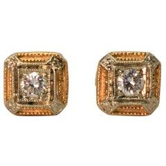 Vintage Diamond Gold Stud Earrings