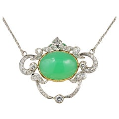 Vintage Diamond Green Paste Gorgeous Revival Lavaliere Necklace