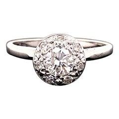 Vintage Diamond Halo Engagement Ring 14 Karat White Gold