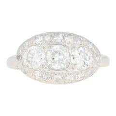 Vintage Diamond Halo Ring, 14 Karat White Gold European Cut 1.24 Carat