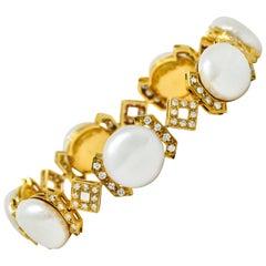 Vintage Diamond Keshi Pearl 18 Karat Yellow Gold Link Bracelet
