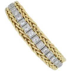 Vintage Diamond Line Bracelet in White and Yellow Gold
