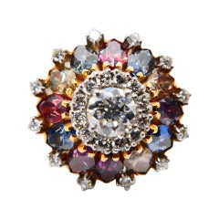 Vintage Diamond and Multicolored Sapphire Dome Cocktail Ring, 18K YG & Platinum