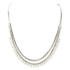 "Vintage Diamond Necklace the Original ""Tennis"" Link with 2 Rows of Diamonds"