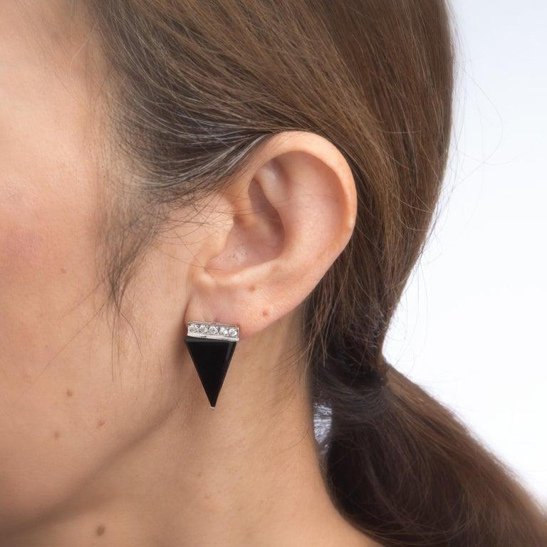 Women's Vintage Diamond Onyx Triangle Earrings Platinum Estate Fine Jewelry Statement For Sale