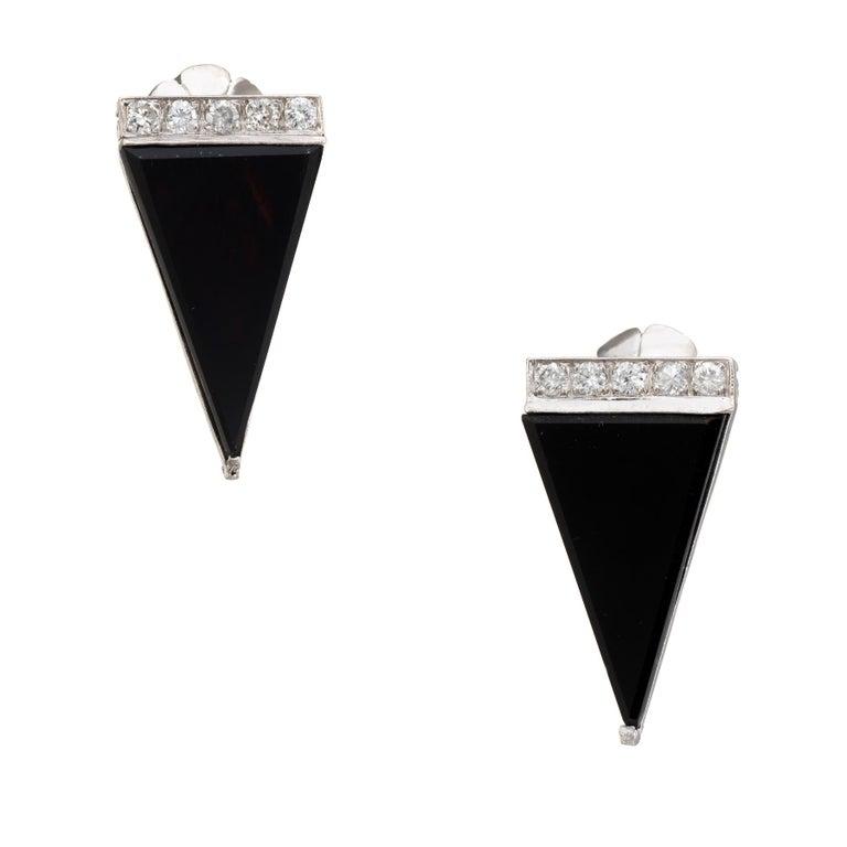 Vintage Diamond Onyx Triangle Earrings Platinum Estate Fine Jewelry Statement For Sale