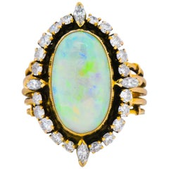 Vintage Diamond Opal 14 Karat Gold Cocktail Ring