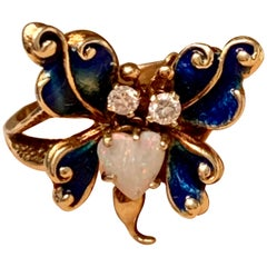 Vintage Diamond, Opal and Enameled Butterfly 14 Karat Yellow Gold Ring
