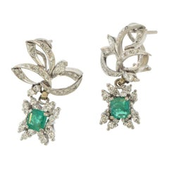 Vintage Diamond Palladium Drop Emerald Earrings
