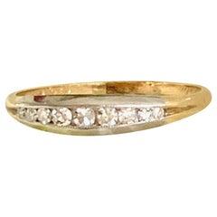 Vintage Diamond Palladium Top 14 Karat Yellow Gold Ring - Size 8