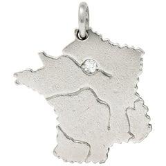 Vintage Diamond Paris Platinum France Charm