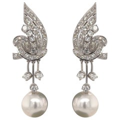 Vintage Diamond Pearl Drop Earrings 2 Carat Platinum