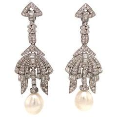 Vintage Diamond Pearl Drop Earrings 4.50 Carats 18 Karat White Gold