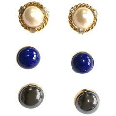 Vintage Diamond, Pearl, Lapis and 14 Carat Gold Interchangeable Earrings