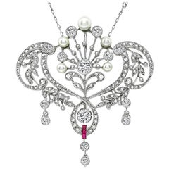 Vintage Diamond Pearl Ruby Pendant Necklace