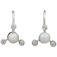 Vintage Diamond Pearl White Gold Earrings