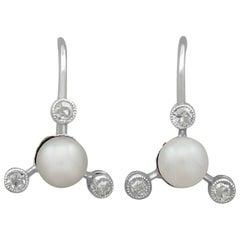 Vintage Diamond Pearl White Gold Earrings