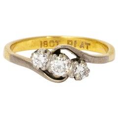 Vintage Diamond Platinum 18 Carat Gold Three-Stone Ring