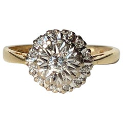 Vintage Diamond, Platinum and 18 Carat Gold Cluster Ring