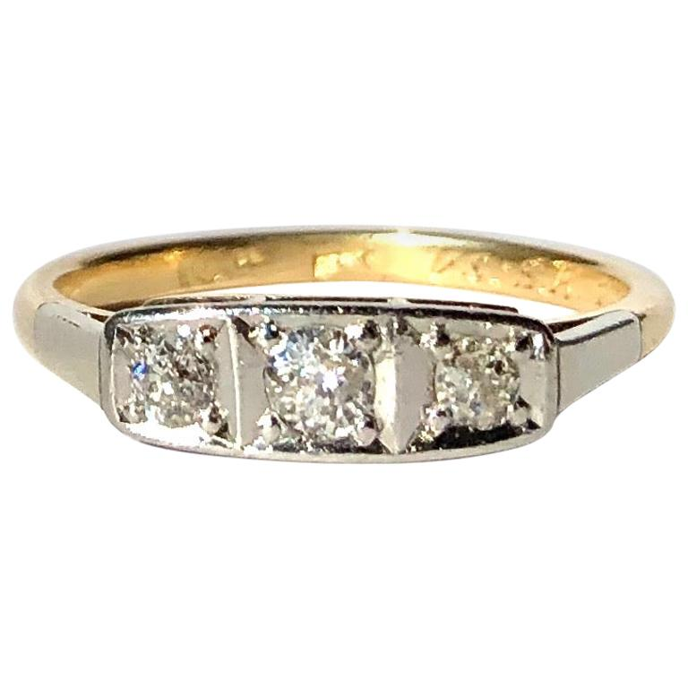 Vintage Diamond, Platinum and 18 Carat Gold Three-Stone Ring