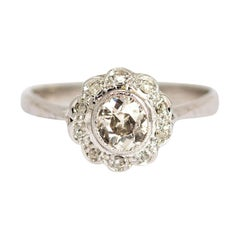 Vintage Diamond Platinum Cluster Ring