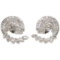 Vintage Diamond Platinum Earrings 6.75 Carat