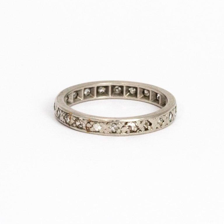Modern Vintage Diamond Platinum Eternity Ring For Sale