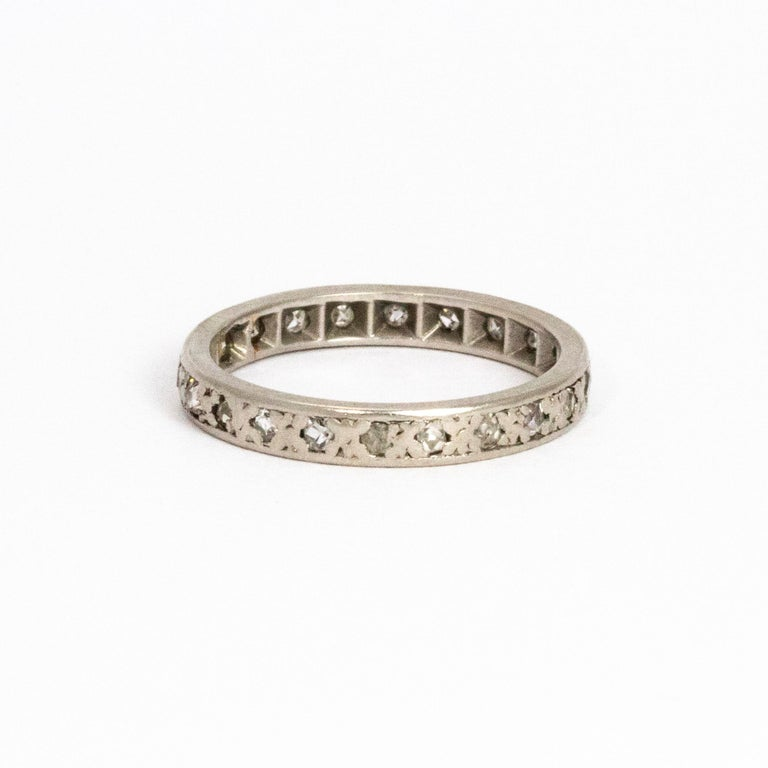 Vintage Diamond Platinum Eternity Ring In Good Condition For Sale In Chipping Campden, GB