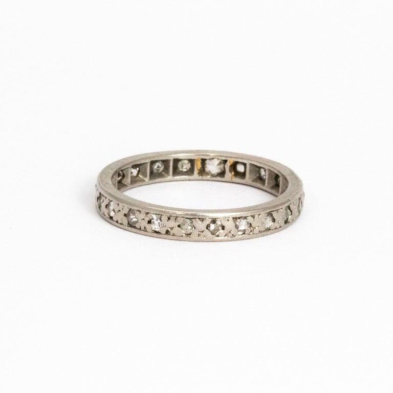 Women's or Men's Vintage Diamond Platinum Eternity Ring For Sale