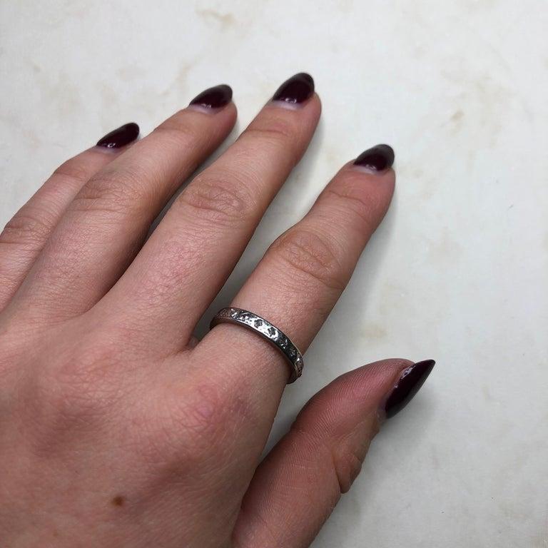 Vintage Diamond Platinum Eternity Ring For Sale 1