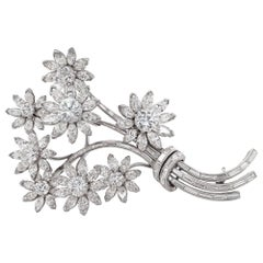 Vintage Diamond Platinum Flower Bouquet Brooch