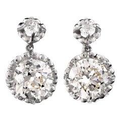 Vintage Diamond Platinum Pendant Dangle Earrings