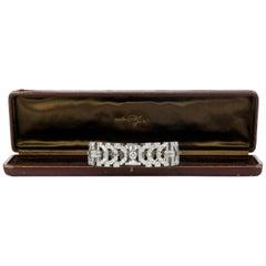 Vintage Diamond Platinum Round Baguette Wide Bracelet