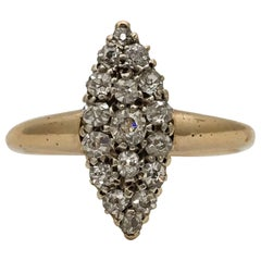 Vintage Diamond Ring 18 Karat Gold Navette Marquise Old Cut Diamonds Edwardian