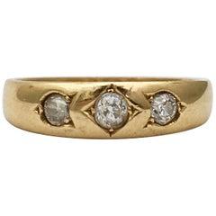 Vintage Diamond Ring 18K Gold 3 Gemstone Gypsy Set Band Stacker Edwardian 1910
