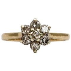 Vintage Diamond Ring Flower Gemstone 9 Karat Yellow Gold Engagement Ring