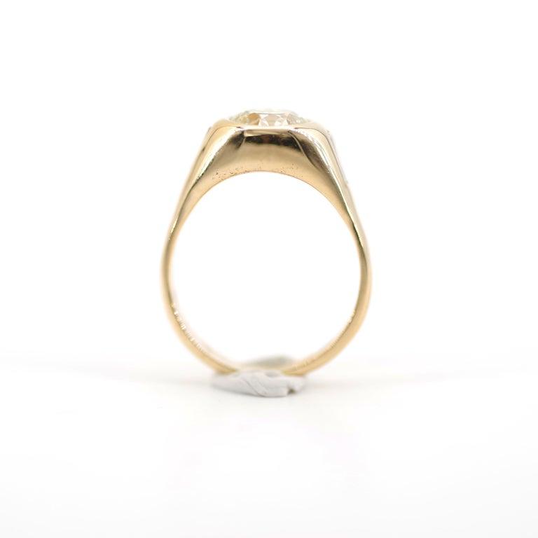 Men's Diamond Ring 2-Carat Midcentury European-Cut Sleek Unisex For Sale 4