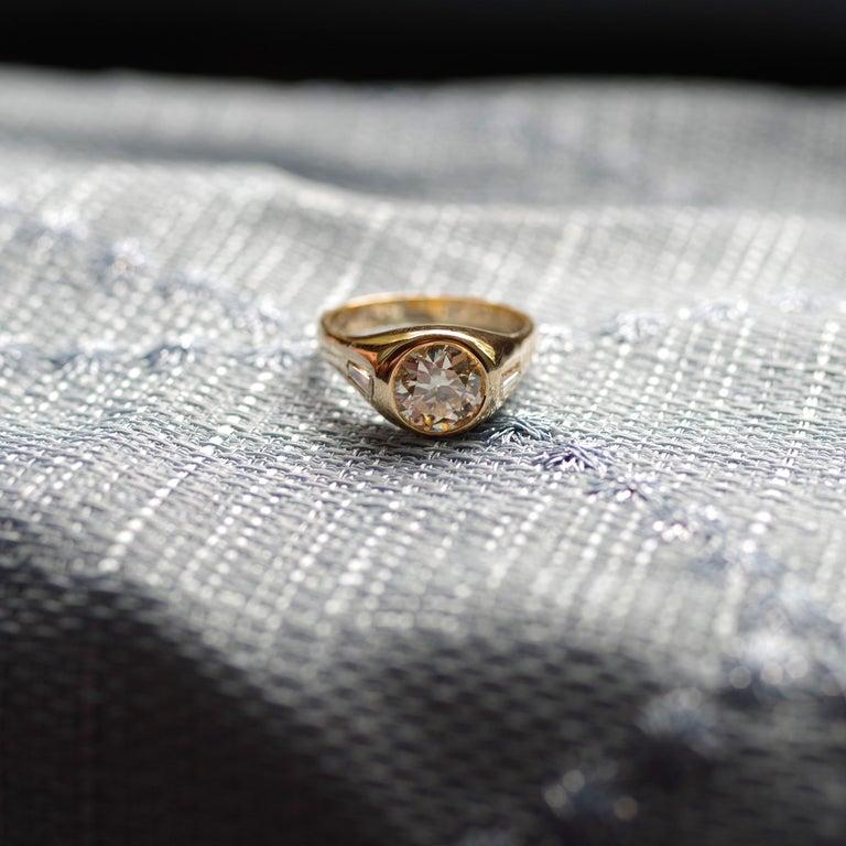 Men's Diamond Ring 2-Carat Midcentury European-Cut Sleek Unisex For Sale 5