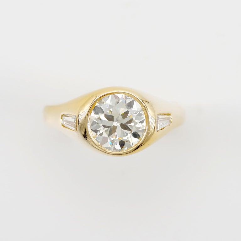 Modern Men's Diamond Ring 2-Carat Midcentury European-Cut Sleek Unisex For Sale