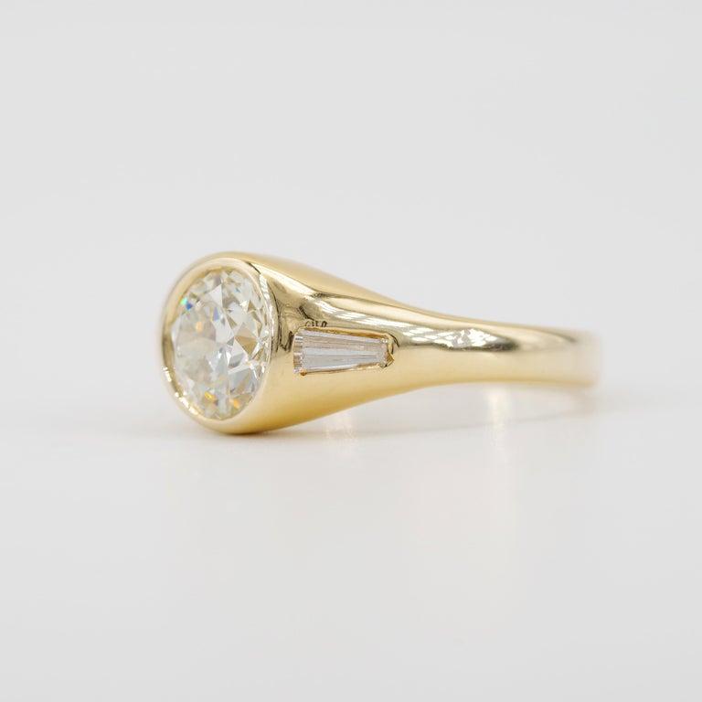 Old European Cut Men's Diamond Ring 2-Carat Midcentury European-Cut Sleek Unisex For Sale