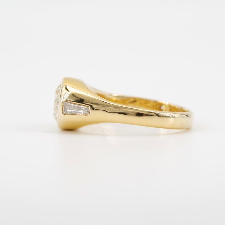 Men's Diamond Ring 2-Carat Midcentury European-Cut Sleek Unisex For Sale 1