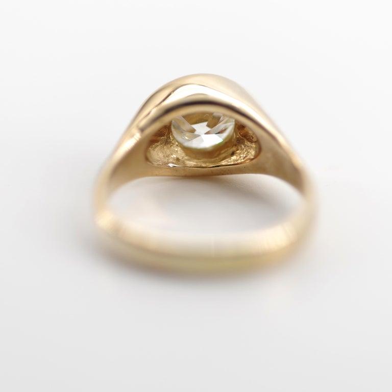 Men's Diamond Ring 2-Carat Midcentury European-Cut Sleek Unisex For Sale 2
