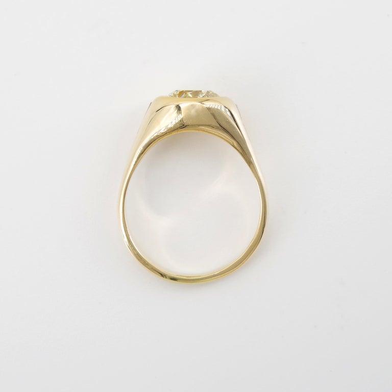 Men's Diamond Ring 2-Carat Midcentury European-Cut Sleek Unisex For Sale 3