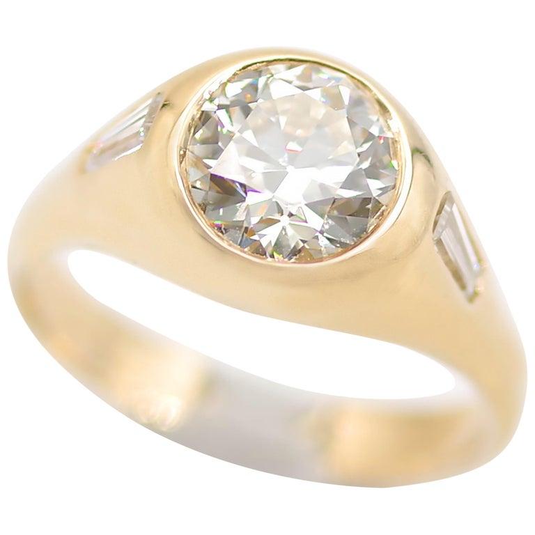 Men's Diamond Ring 2-Carat Midcentury European-Cut Sleek Unisex For Sale