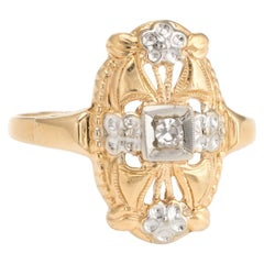 Vintage Diamond Ring Two-Tone Embossed Flowers 14 Karat Gold Cocktail Jewelry